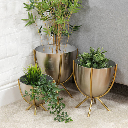 Nickel And Gold Planter Set