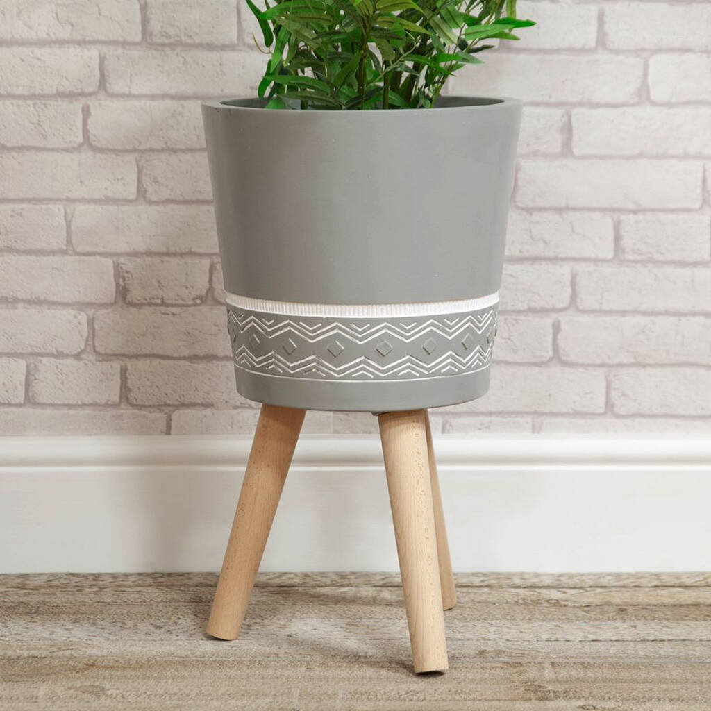 Aztec Style Planter - Large / Grey Simple Design