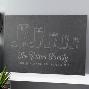 Personalised Welly Boot Family Slate Board