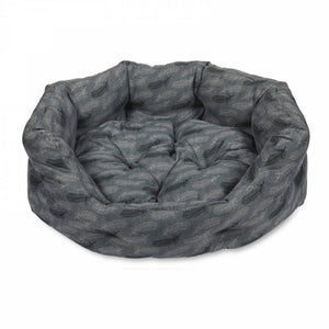 Feather Print Oval Dog Bed