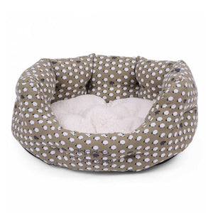 Sheep Print Oval Dog Bed