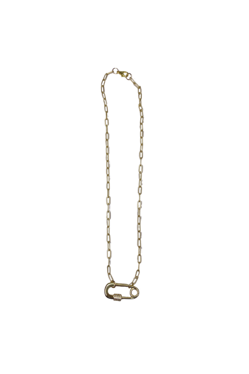 Safety Pin Charm Necklace