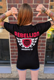 Black shirt with Rebellion Brewing logo