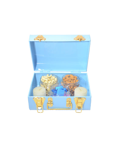 Blue Trunk Christmas Combo of Assorted Chocolates & Dry Fruits with 2 Teal Lights