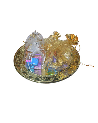 Festive Gold Tray of Assorted Chocolates & Dry Fruits