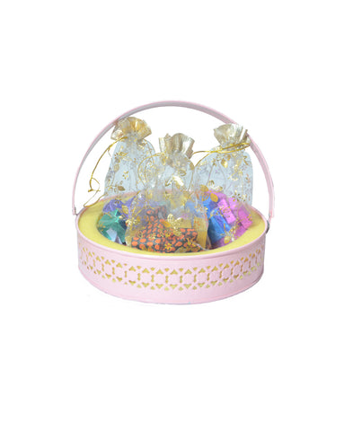 Merry Christmas Golden Netted Pink Metal Basket Hamper