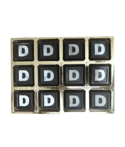 Personalized Chocolate Squares – 12 'D' Printed Pieces