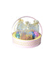 Happy Diwali Golden Netted Pink Metal Basket Hamper
