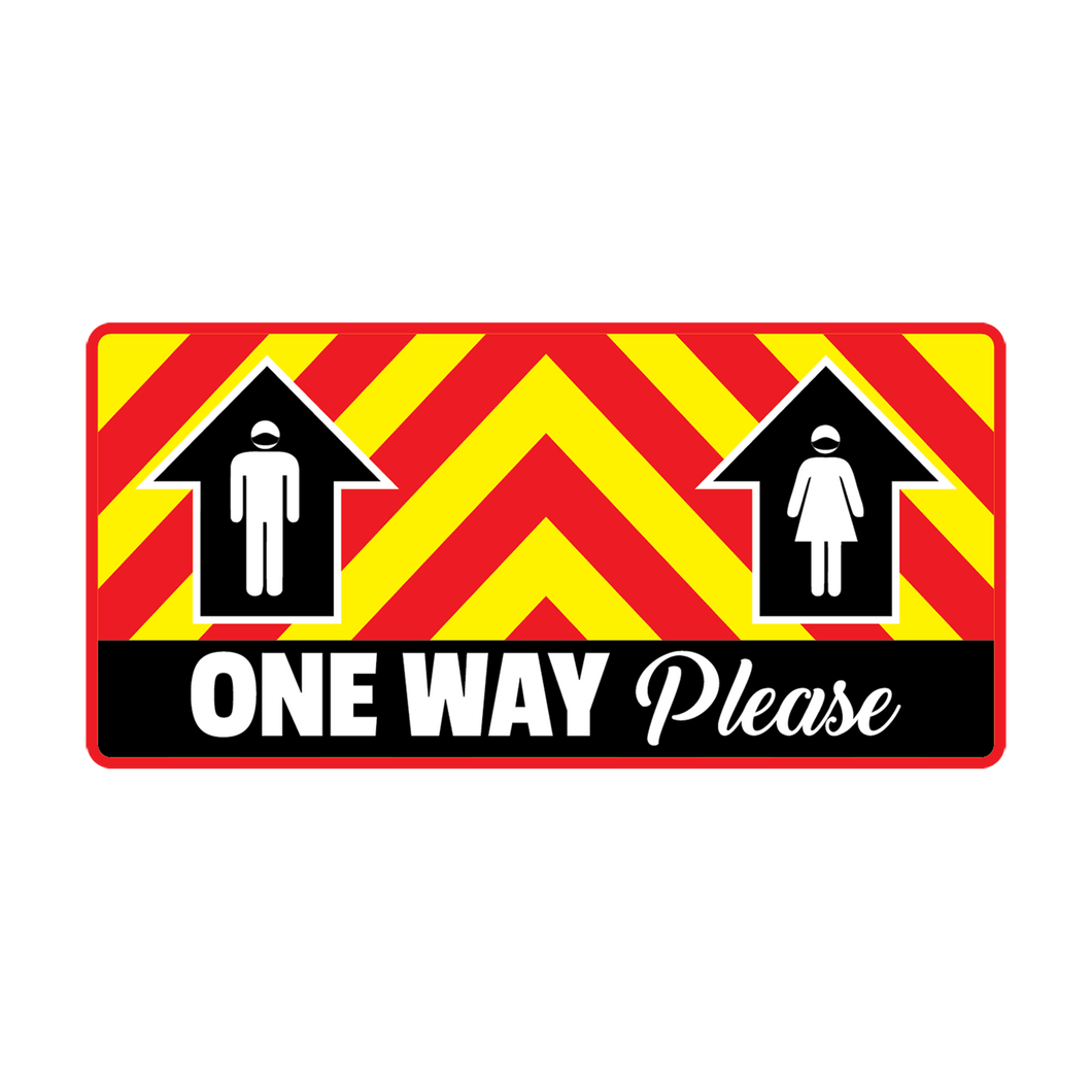 One Way Please Rectangular Floor Graphics (8 in. X 17 in.) (Sold In Packs 5, 10 or 25)