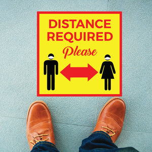 Yellow Distance Required Square Floor Graphic (25 Decals Per Package)