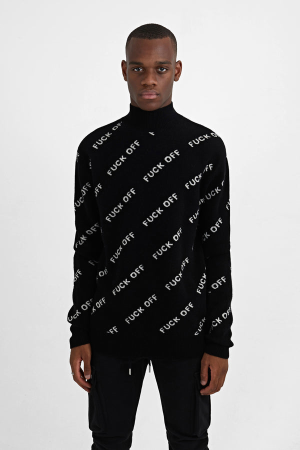 "OVERSIZE CASHMERE  SWEATER ""FUCK OFF"""