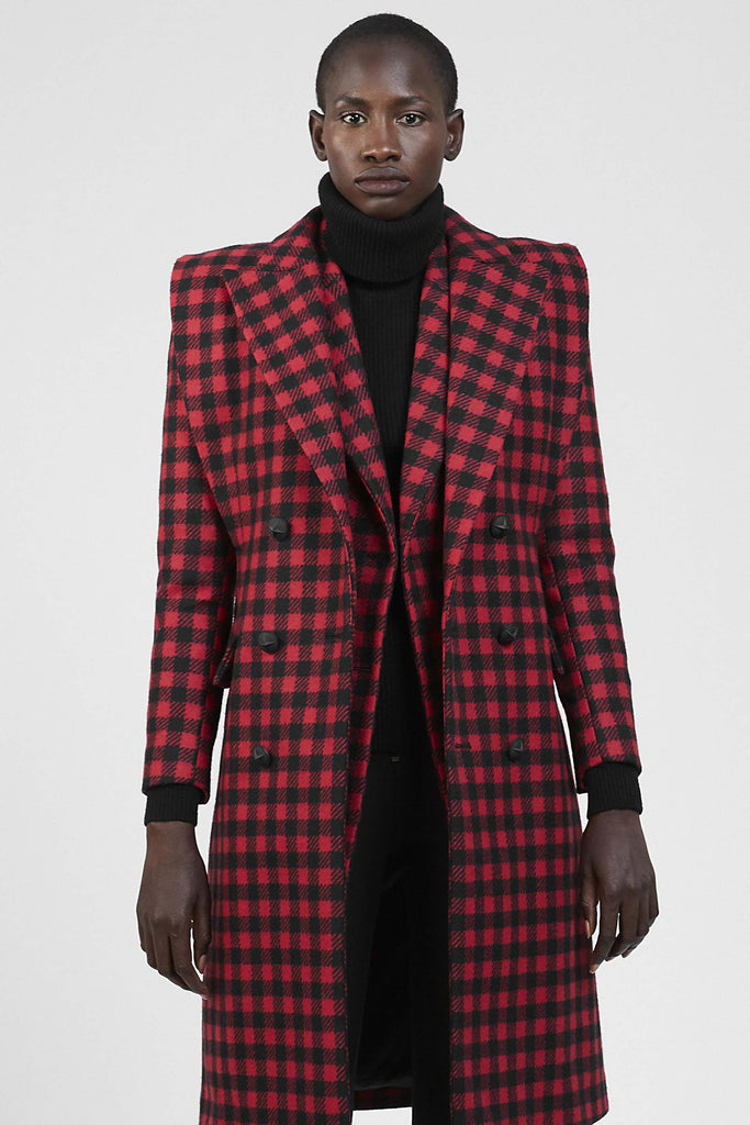 DOUBLE-BREASTED BIKER CHECKERED COAT