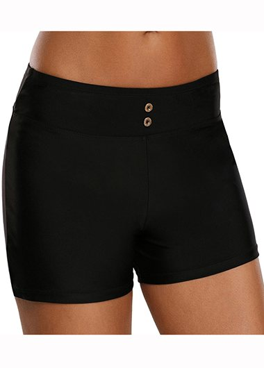 High Waist Solid Black Swimwear Shorts - fashionyanclothes