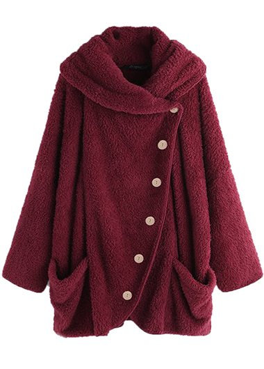 Plus Size Fluffy Button Up Coat