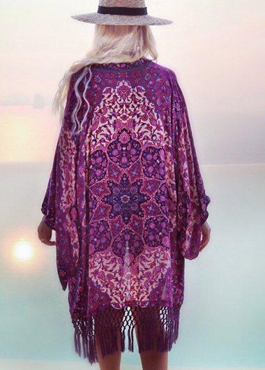 Chiffon Purple Tassel Printing Cover Up - fashionyanclothes