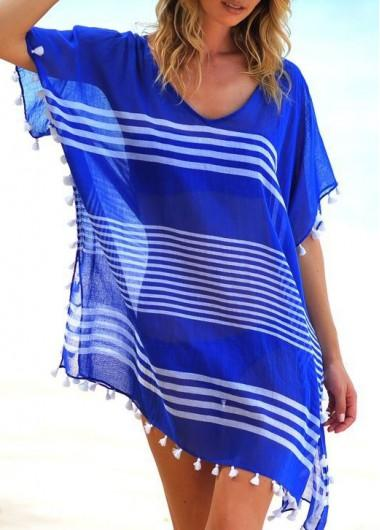 Round Neck Short Sleeve Tassel Chiffon Cover Up - fashionyanclothes
