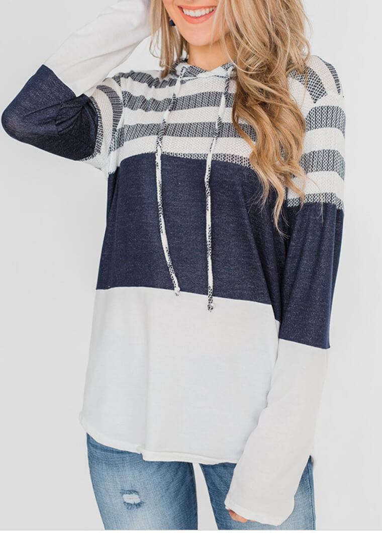Long Sleeve Patchwork Striped Hoodie - fashionyanclothes