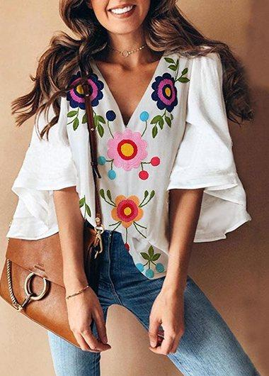 V Collar Floral Print Bell Sleeve T-Shirt - fashionyanclothes
