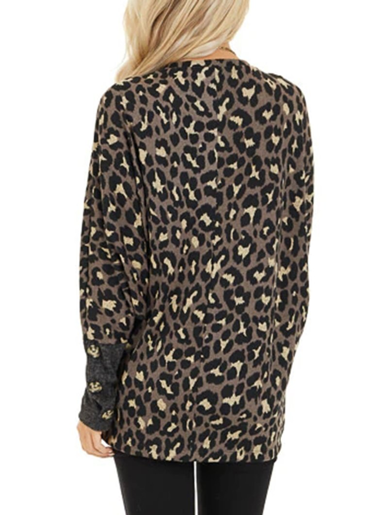 Leopard Printed Button Long Sleeve Top - fashionyanclothes