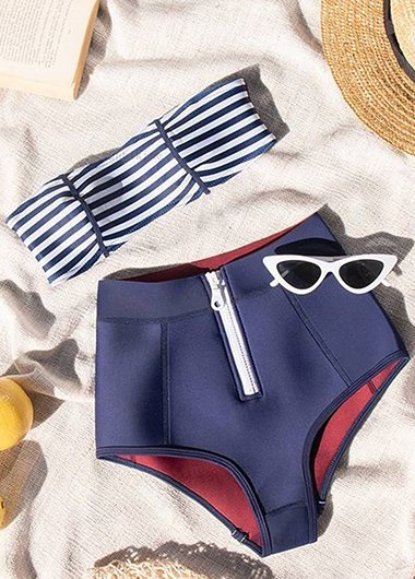 Striped  Zipper High Waist Bikini Set