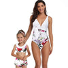 Mom & ME  Flower Printed V Neck Swimsuit