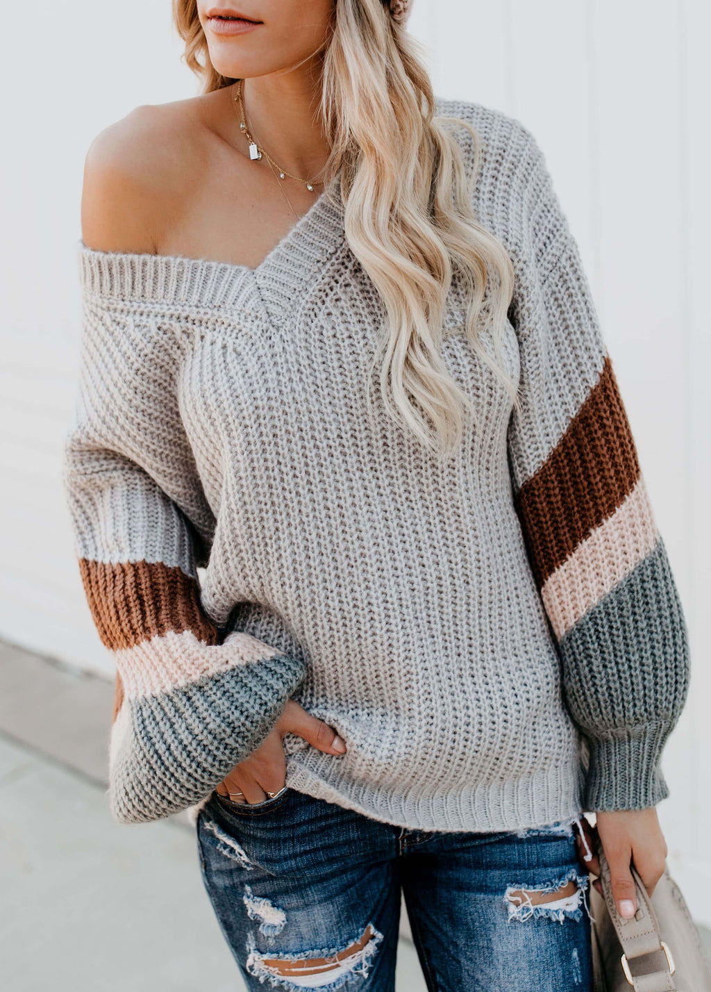 Geometric V Neck Knitted Sweater - fashionyanclothes