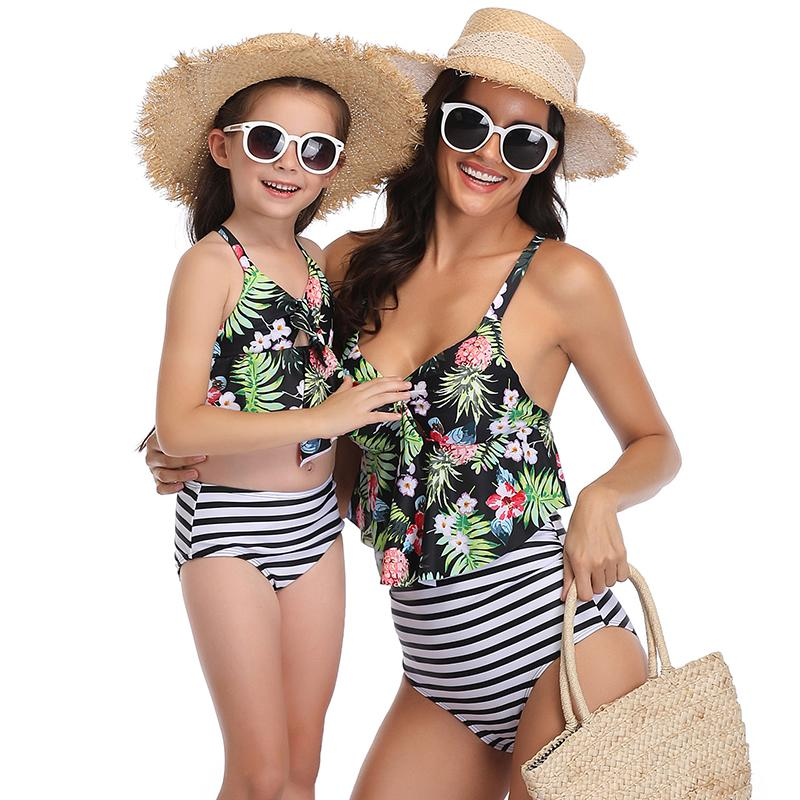 High Waist Ruffle Printed Swimsuit - fashionyanclothes