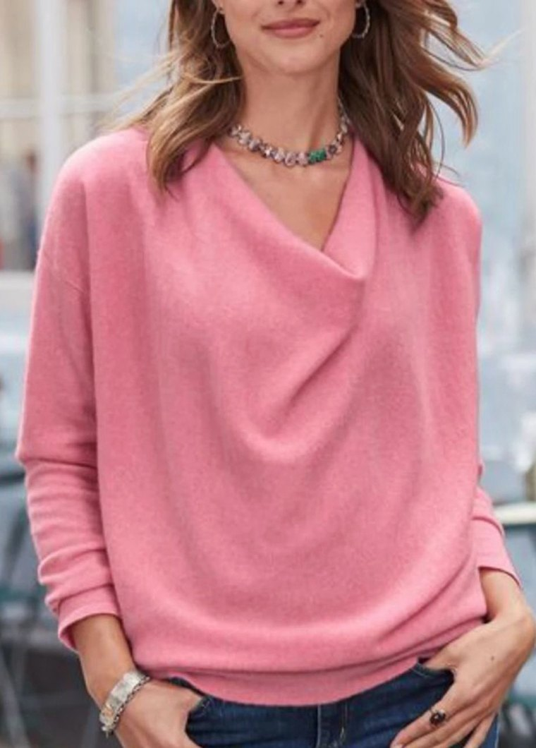 Cowl Neck Long Sleeve Soild T Shirt - fashionyanclothes
