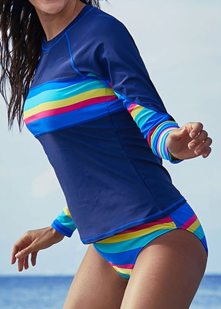 Blue Rainbow Stripe Long Sleeve Diving Suit