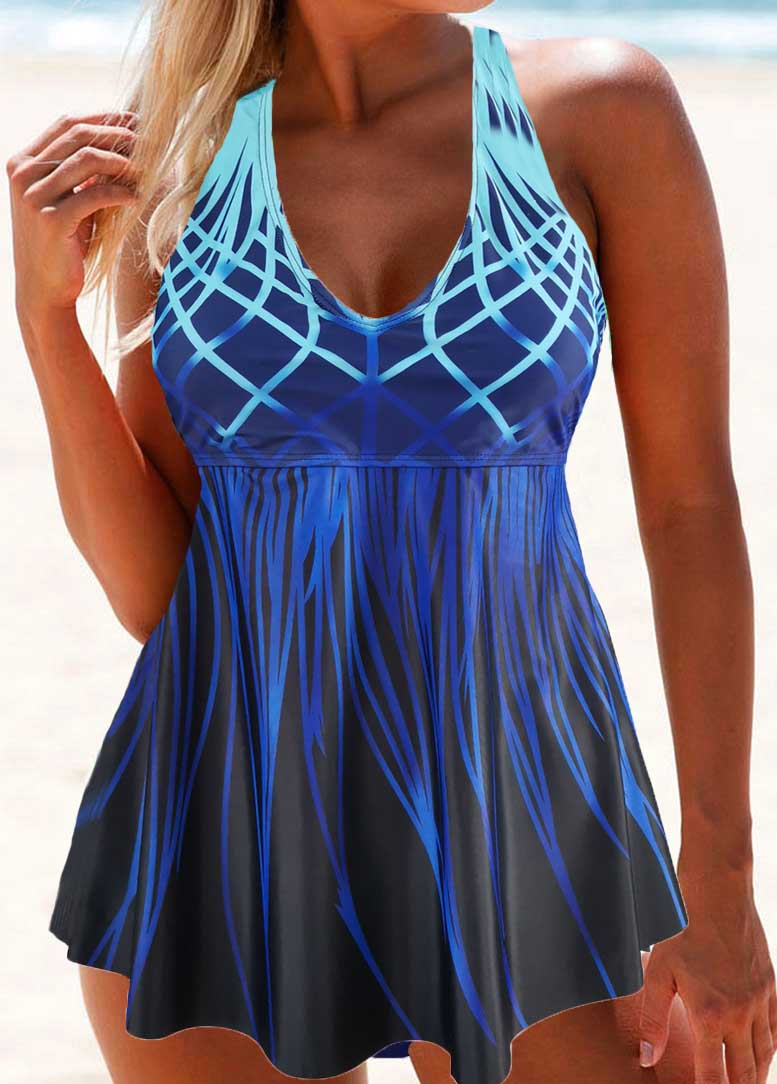 Ombre Print Hater Swimdress and Panty