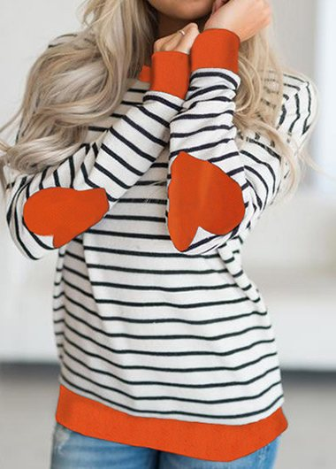 Stripe Heart-shaped Elbow Patch Sweatshirt - fashionyanclothes