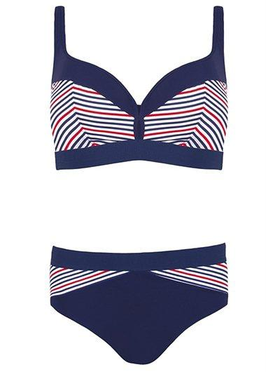 High Waisted Stripe Print Bathing Suit - fashionyanclothes