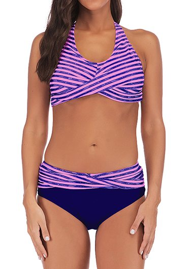 Twist Front Striped Halter Blue Bikini Set