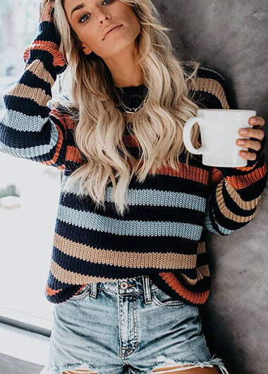Knitted Striped Round Neck Sweater