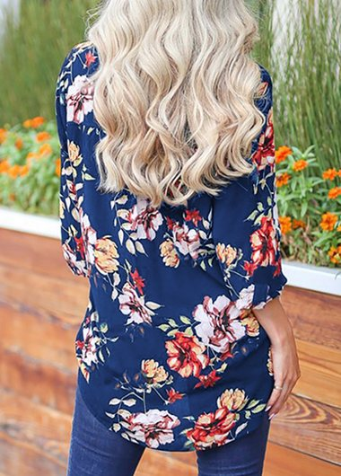 Printed Long Sleeve Split Neck Blouse