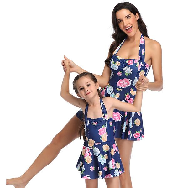 Mom & ME Blue Flower Printed Swimdress - fashionyanclothes