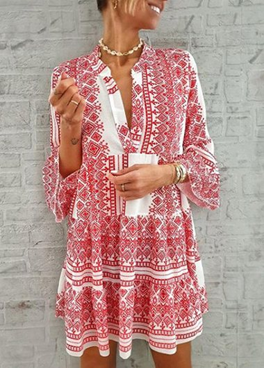Split Neck Printed Leaf Sleeve Dress