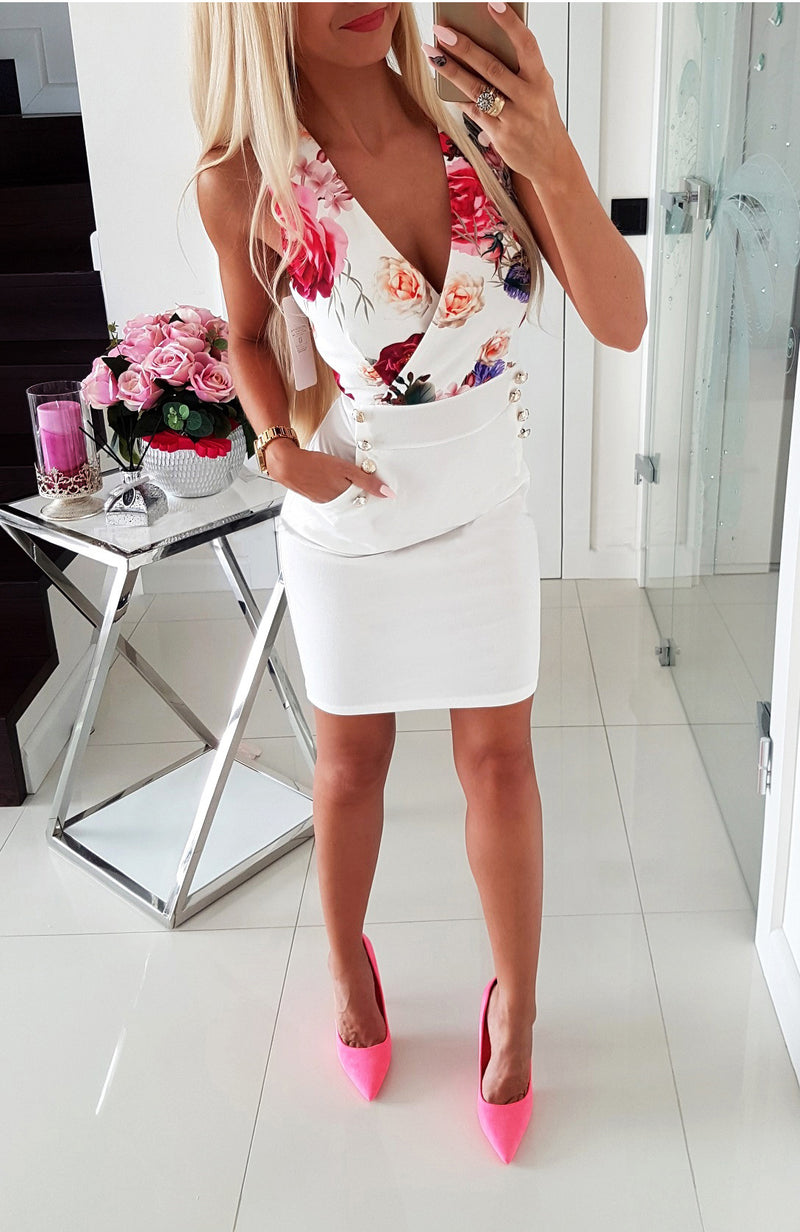 Sexy V Neck Flower Printed Bodycondress