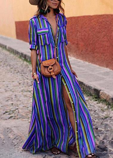 Striped Print Long Sleeve Maxi Dress - fashionyanclothes