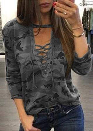 Lace up Bandage V Neck T-shirt - fashionyanclothes