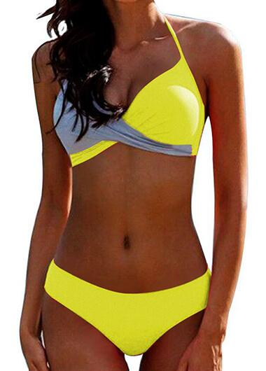 Color Block Twist Front Halter Bikini Set - fashionyanclothes