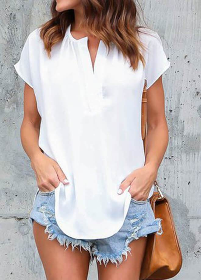 Loose Blouse Short Sleeve Tops - fashionyanclothes