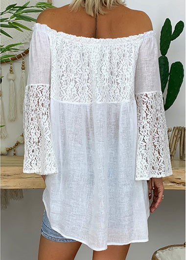 Plus Size Leaf Sleeve Lace Spliced T-Shirt - fashionyanclothes