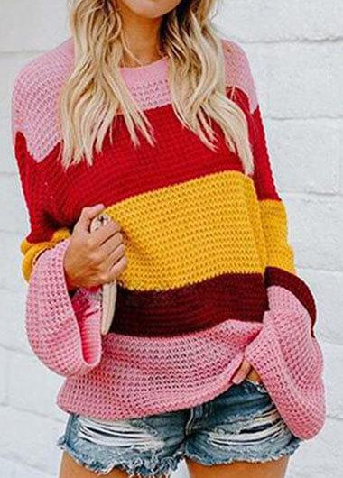 Three Color Patchwork Loose Sweater - fashionyanclothes