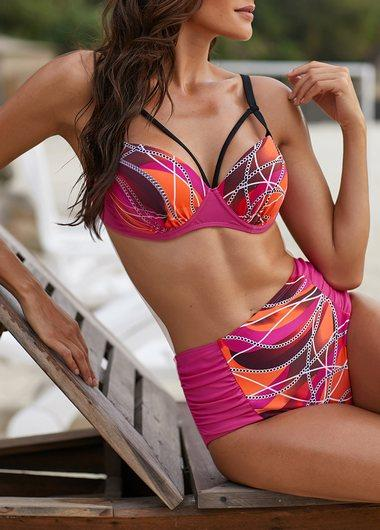Spaghetti Strap Printed High Waist Bikini Set - fashionyanclothes