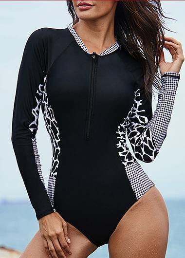 Zipper Front Black Long Sleeve Printed Swimwear - fashionyanclothes