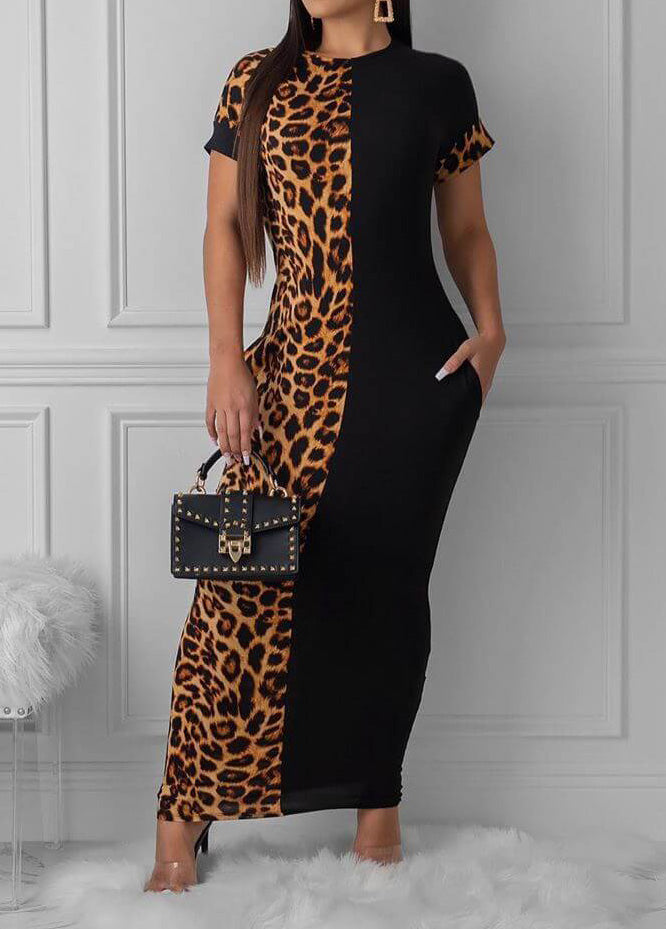 Leopard Print Color Block Maxidress
