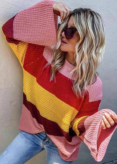 Three Color Patchwork Loose Sweater