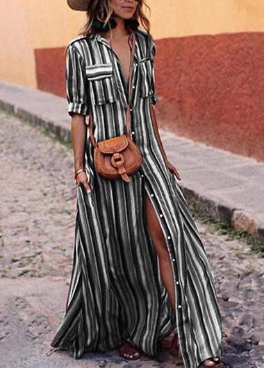 Striped Print Long Sleeve Maxi Dress