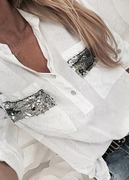 White Fashion Collar Sequins Blouse
